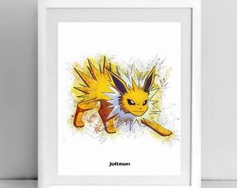 Jolteon, Pokemon Line drawing, 8x10inch, by janovelty