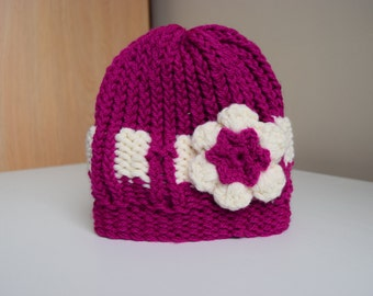 Children/Toddler Belted Hat pink and white hat with large pink and white flower.  Pink and white knit hat, kid's knit hat