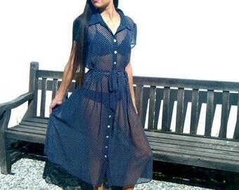 sheer black polka dot midi dress