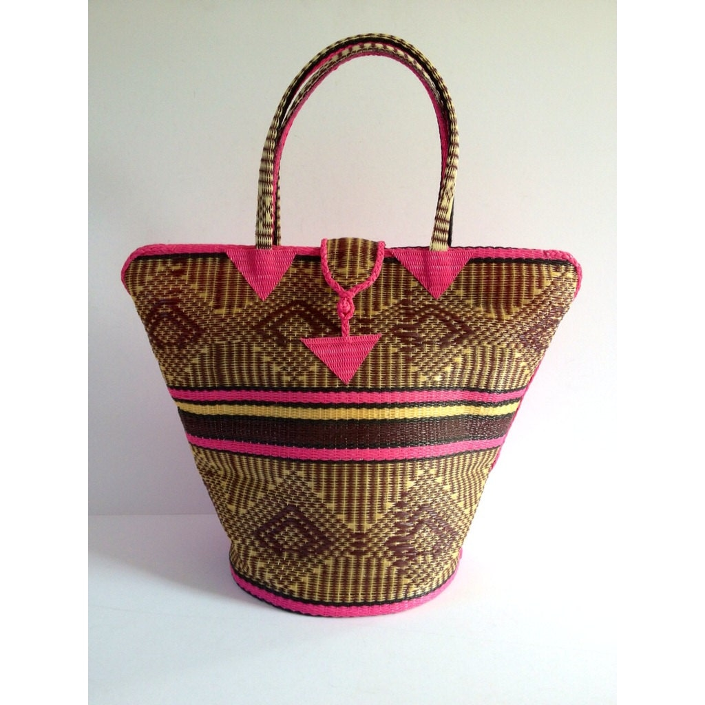 Handmade Baskets From Africa : African woven basket handmade plastic tote handwoven