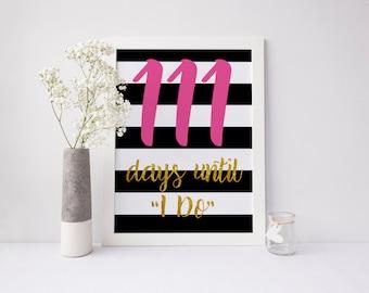 Days Until I Do | Countdown Sign | Bridal Shower Decor | Kate Spade Theme | Gold Foil, Pink, Black & White | Instant Download | DIGITAL FILE