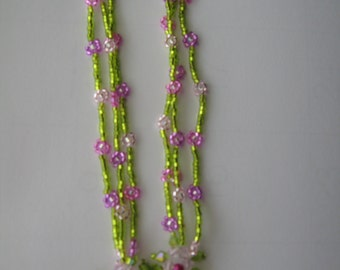 Swarovski and beaded necklace in a lovely floral pattern