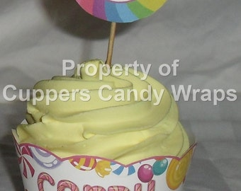 Candy Land Cupcake Wrapper and Topper Set, Party Favor,  ~ 1 Dozen