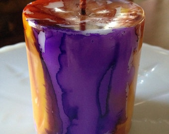 Alcohol Ink Candle - Purples and Oranges