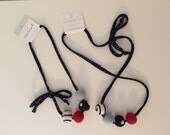 Duo - Ladybug - child and adult, bright colours, necklace balls of wool, cotton, safe, black, white, red and grey cord