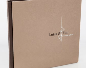 Custom Wedding Album. Personalized Wedding Photo Album.Leather cover.8X8 inches . 20X20 centimeters. 40 pages. Art design.