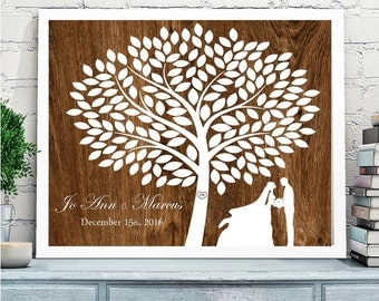 Rustic wedding guest book alternative canvas, Wedding Tree with couple silhouette, Rustic Wedding canvas,Wooden background, poster or canvas