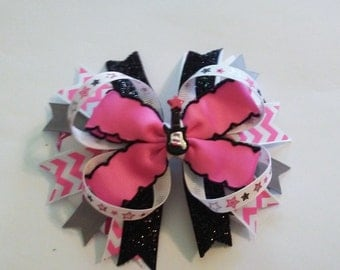 Hot pink and black rock star hair bow with guitar, Hot pink and black rock star headband with guitar, Hot pink and black guitar hair bow,
