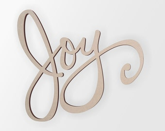 """Word Cutout """"Joy"""" - Cutout, Home Decor, Unfinished and Available from 1 to 42 Inches Wide"""