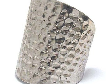 Wide metal hammered oval cuff bracelet