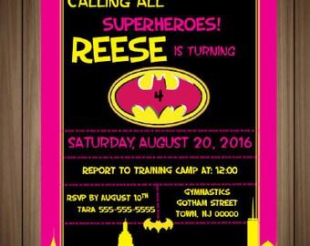 Batgirl Birthday Invitation