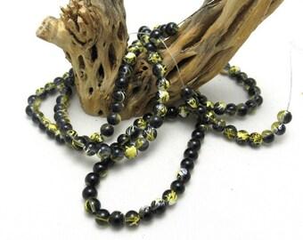 1 Strand 6mm Drawbench Glass Round Beads Yellow/Black (B41c)