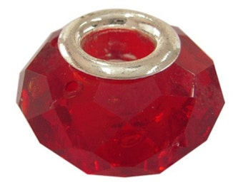 17 Handmade Faceted Glass Euro Beads Red (BR1L)