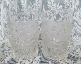 Set of 2 Antique Early American Pressed Glass Festoon Pattern Drinking Tumblers