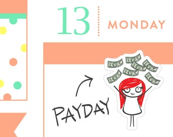 P014 - Payday stickers, payday planner stickers, planner stickers, money stickers, pay bills stickers, 32 stickers, MINI size, PPC154