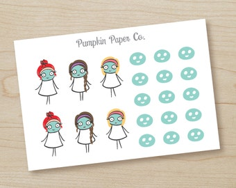 P187-Face mask planner stickers, planner stickers, spa day, girl's night, reminder stickers, makeup stickers, 21 stickers, PPC76