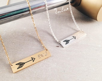 Bar initials minimalist necklace - Christmas Gifts for her - Hand stamped arrow jewelry - Anniversary personalized jewellery necklace