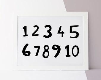 Nursery Numbers Print, Nursery Numbers Wall Art, Printable Nursery Art, Numbers Print Landscape, Landscape Nursery Wall Art, Black and White