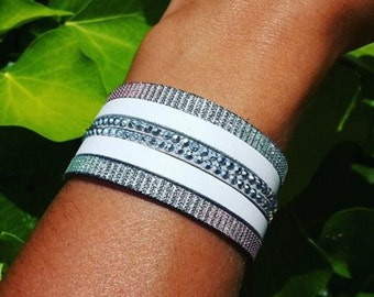 Cuff grey and white shell bracelet
