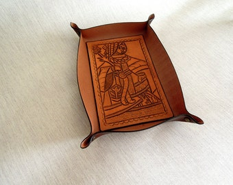 Handmade Leather Tray with a drawing of a lady