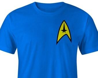 Star Trek Blue T-Shirt Left Chest, Star Trek Blue Tee, Star Trek Shirts, Star Trek T-shirts Star Trek Tees, Star Trek Shirt Star Trek Beyond