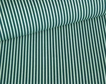 Fabric cotton teal with white stripes