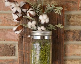 Stained Mason Jar Wall Vase