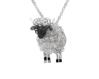 Handcrafted Valais Blacknose silver sheep necklace, Valais Blacknose sheep, rare breeds, Valais Blacknose present, Valais Blacknose gift