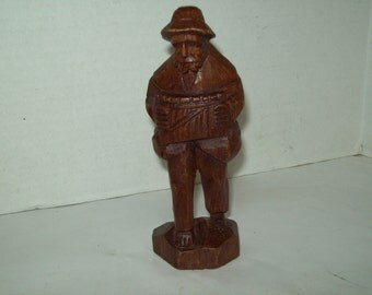 Vintage Hand Carved Wooden Man Playing Accordian, FREE SHIPPING