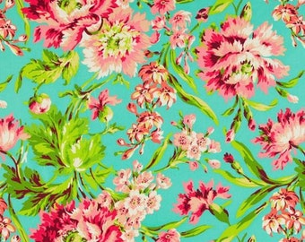 Amy Butler Love Bliss Bouquet in Teal Fabric - Summer Floral Fabric - Premium Cotton Apparel Quilt Fabric by the Yard - Turquoise Fabric
