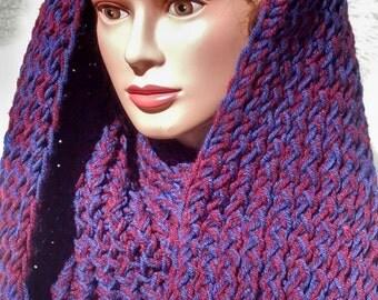 Ladies infinity scarf, cowl, red blur