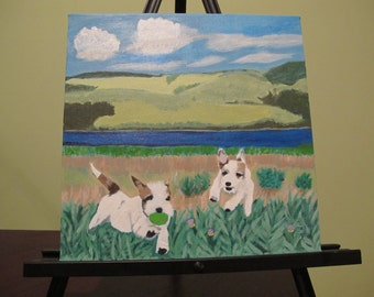 Joyful Jacks acrylic painting of jack russells on a 12x12 canvas