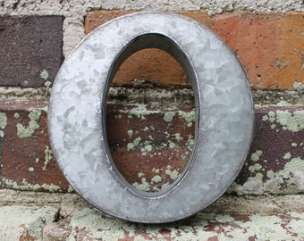 """6""""x5.75"""" Galvanized Metal/Aluminum Wall Hanging Letter """"O"""" Industrial Farmhouse Wall Decor"""