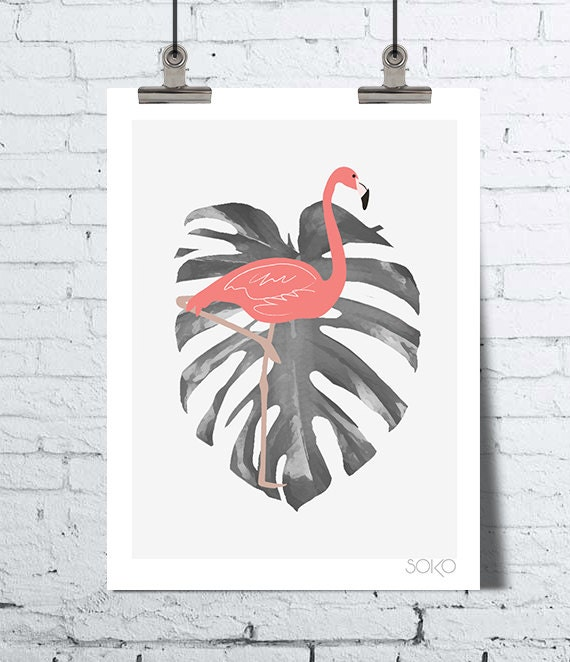 affiche flamant rose sur feuille de monstera leaf wall art. Black Bedroom Furniture Sets. Home Design Ideas
