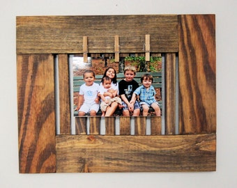Handmade pallet wood clothespin frame
