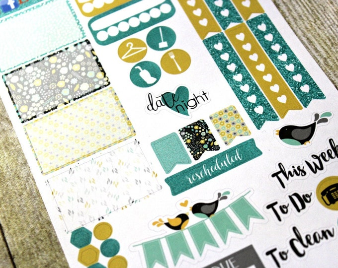 Planner Stickers Sampler - Happy Planner - Day Designer - Functional stickers - Fits Erin Condren - Mint Yellow - Sticker Sampler