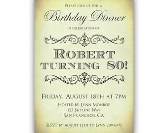 80th Birthday Dinner Invitations, Milestone Birthday Party Invitation, Men's Birthday Invitations, 50th 60th 70th 90th, Printable or Printed