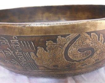 12 Inches Healing Mantra Carved Meditation Tibetan Singing Bowl