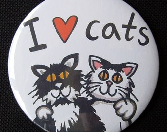 I Love Cats 7.5cm Pocket Mirror/Make up Mirror/Compact Mirror/Handbag Mirror