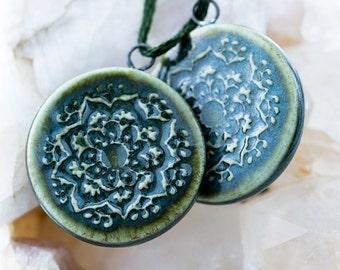 Round mandala porcelain pendants|Pine green glaze