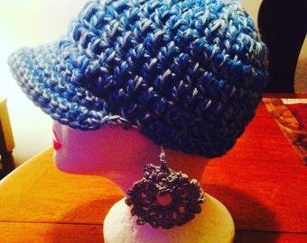 Crochet hat & earrings