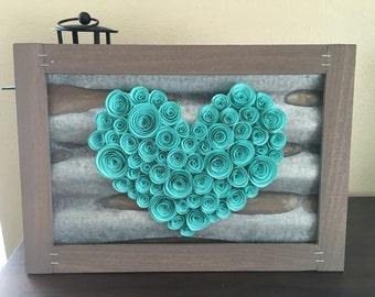 Rustic Teal Paper Heart