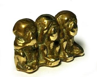 Vintage 1950s Three Wise Monkeys Tiny Brass Ornament Figurine See Hear Speak No Evil