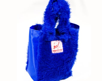 Mini bag-plush and cordura blue shopper