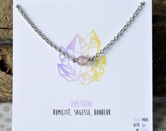 Stainless steel Ametrine necklace