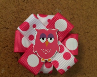 Pink and White Owl Barrette