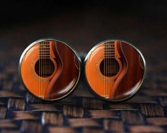 Guitar cufflinks, Acoustic Guitar Art cufflinks, guitar jewelry, music cufflinks, music art cufflinks, Guitar player gift, Gift for musician