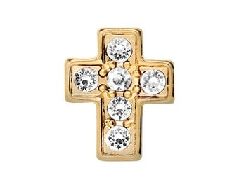 Gold cross with crystals floatingc charm