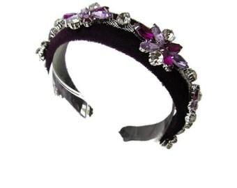 Stunning lilac purple padded velvet headband/hairband embellished with beautiful floral gems and rhinestone jewel wedding/occasion accessory