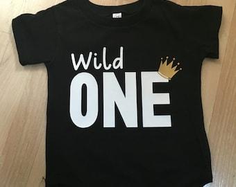Wild one black onesie